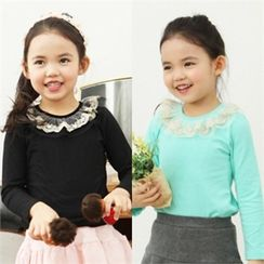 TWINSBILLY - Girls Lace-Neckline Top
