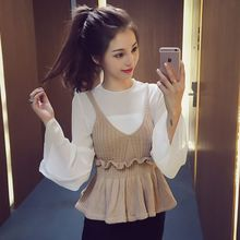 Ashlee - Set: Bell-Sleeve Chiffon Blouse + Knit Peplum Top