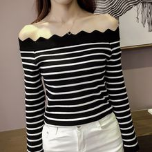 Bloombloom - Striped Off Shoulder Knit Top