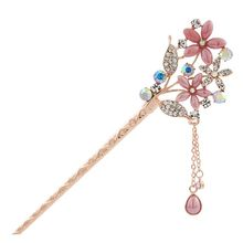Missy Missy - Rhinestone Flower Dangling Hair Stick