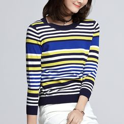 Sentubila - Striped Long-Sleeve Knit Top