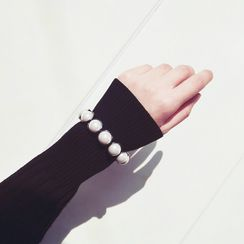 Ticoo - Faux Pearl Open Bangle
