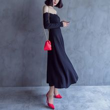 KAKAGA - Off-Shoulder A-Line Maxi Dress