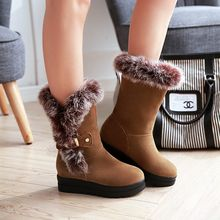Pastel Pairs - Furry Trim Hidden Wedge Short Boots
