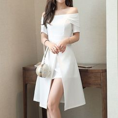 Lavogo - Plain Off Shoulder Short Sleeve A-Line Dress
