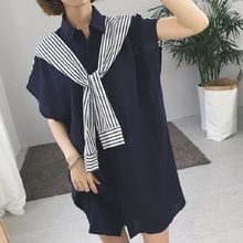 Rocho - Pinstripe Panel Short-Sleeve Shirtdress