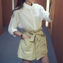 Ashlee - Set: Plain Long-Sleeve Shirt + Paperbag Waist Skort