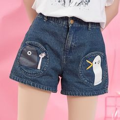 Moriville - Cartoon Print Wide Leg Denim Shorts