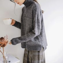 JUSTONE - Turtle-Neck Dip-Back Knit Top