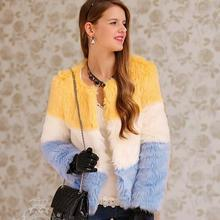 Dabuwawa - Color-Block Faux-Fur Jacket