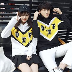 Azure - Couple Matching Letter Chevron Hoodie