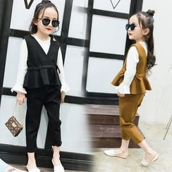 Princess House - Kids Set: Long-Sleeve T-Shirt + Peplum Vest + Cropped Pants