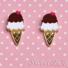 Sweet & Co. - I love ice-cream mirror stud earrings