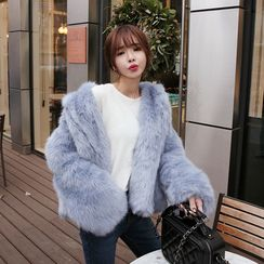 DABAGIRL - Open-Front Faux-Fur Jacket