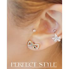 Miss21 Korea - Rhinestone Bow Stud Earrings