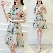 Lavogo - Elbow-Sleeve Printed Tie Waist Dress