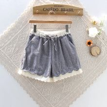 Nycto - Eyelet Lace Trim Gingham Shorts