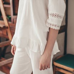 Snorie - Loungewear Set: Crochet Panel 3/4-Sleeve Top + Pants