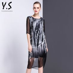 Y:Q - Elbow-Sleeve Printed Midi Dress