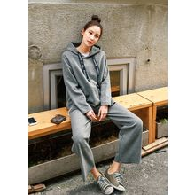 J-ANN - Set: Lettering Hooded Pullover + Wide-Leg Sweatpants