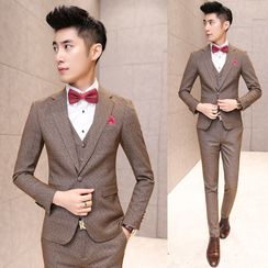 Besto - Set: Panel Blazer + Vest + Pants