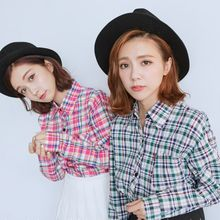 BAIMOMO - Long-Sleeve Plaid Shirt