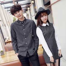 Bonne Nuit - Couple Matching Check Shirt / Panel Collared Dress