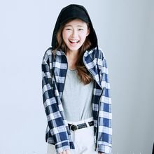 BAIMOMO - Hooded Plaid Shirt
