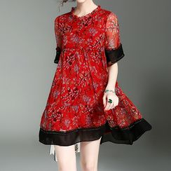 Alaroo - Floral Print Elbow Sleeve Dress