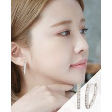 Miss21 Korea - Rhinestone Hoop Earrings