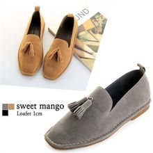 SWEET MANGO - Square-Toe Tasseled Faux-Suede Loafers