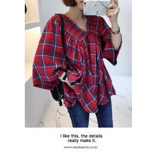 Miamasvin - V-Neck Smocked Plaid Top