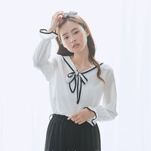 BAIMOMO - Long-Sleeve Tie-Neck Top