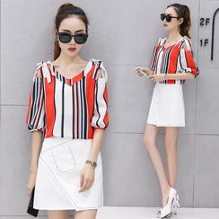 Ekim - Set: Cutout-Shoulder Striped Top + A-Line Skirt