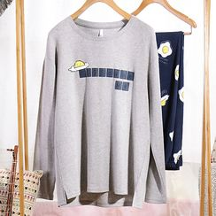 Hodohome - Couple Matching Loungewear Set: Egg Print Long-Sleeve Top + Pants