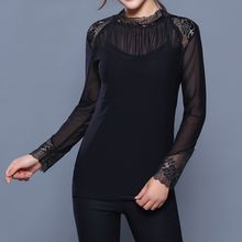 camikiss - Mesh Panel Lace Long-Sleeve Top
