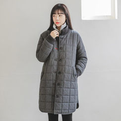 JUSTONE - Stand-Collar Button-Down Quilted Coat