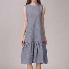 Isadora - Plaid Ruffle Trim Sleeveless Dress