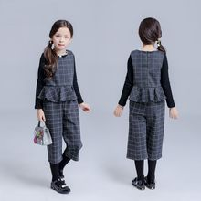 Kidora - Kids Set: Ruffle Plaid Vest + Cropped Plaid Pants