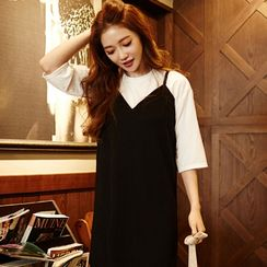 chuu - Set: Short-Sleeved Sweater + Spaghetti-Strap Midi Dress