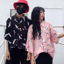 LINSI - Couple Matching Print Elbow-Sleeve Shirt