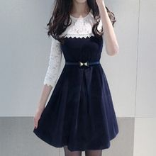 Fashion Street - Lace Trim 3/4 Sleeve A-Line Dress