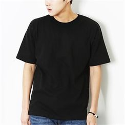MITOSHOP - Plain Round-Neck T-Shirt