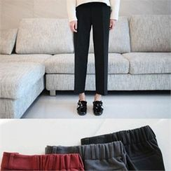 YOOM - Band-Waist Brushed Fleece Wide-Leg Pants