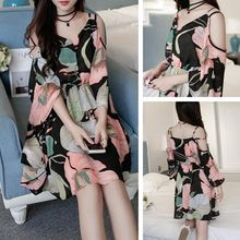 YOSH - Floral Print Cutout Shoulder Chiffon Dress