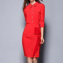Merald - Frill Trim Elbow-Sleeve Shirtdress