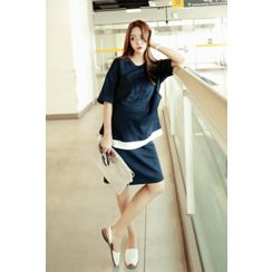 Momnuri - Maternity Set: Layered-Hem Nursing T-Shirt + Skirt