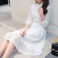 Lavogo - 3/4 Sleeve Lace Dress
