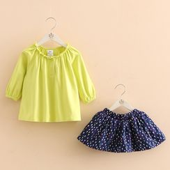 Seashells Kids - Kids Set: Plain Top + Printed Skirt