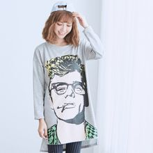 BAIMOMO - Long-Sleeve Printed Long Top
